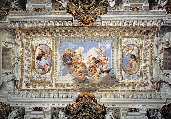 Giovanni da San Giovanni - Allegoria delle nozze di Vittoria della Rovere con Ferdinando II de 'Medici - 1637 - affresco -Soffitto sala Museo degli Argenti - Palazzo Pitti - Firenze