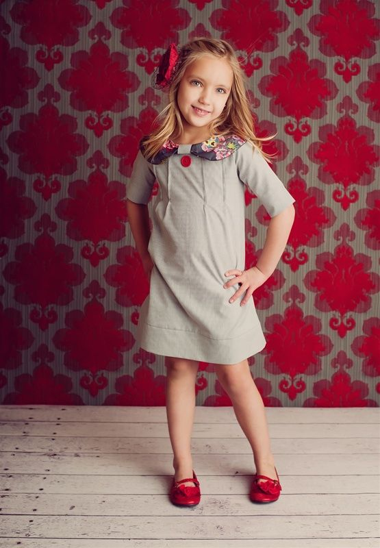 Persnickety Clothing - Grace Dress in Gray Stripe Fall 2012