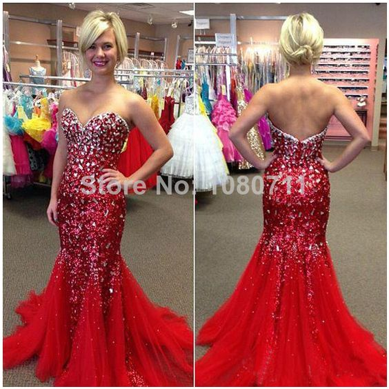 Details about 2016 NEW Red Mermaid Bead Formal Evening Dress Party ...