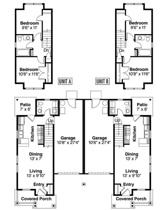 two story duplex with garage details duplex plans