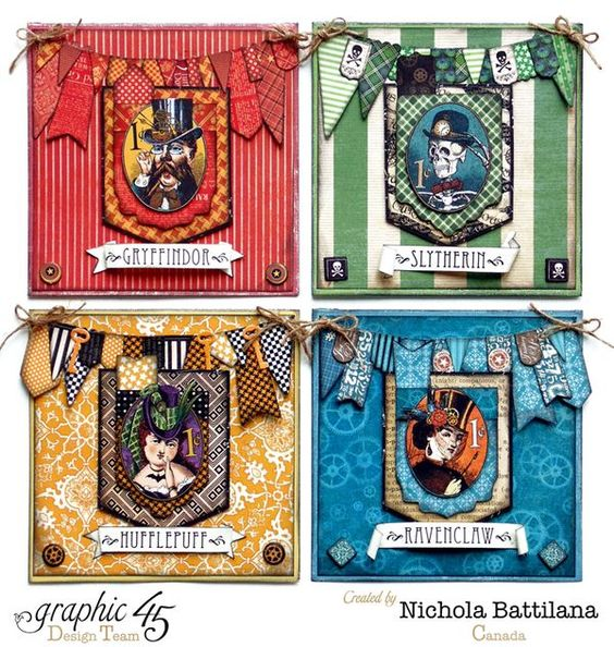 Mixing up all of the Graphic 45 collections to create Potterhead Hogwarts house cards - Nichola Battilana