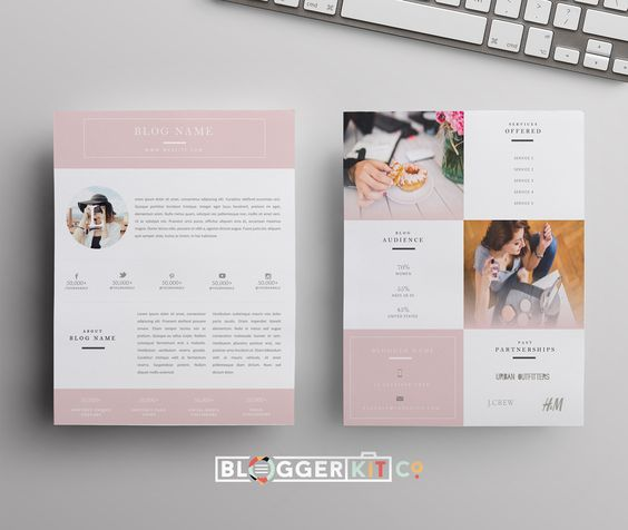 Beauty Blogger (Pink) Media kit template, Media kit and Template - word 2007 resume template