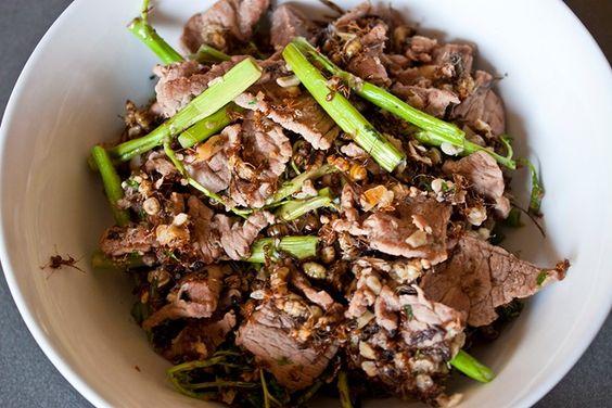 Thịt bò xào kiến là món ăn thu hút sự chú ý của đông đảo du khách