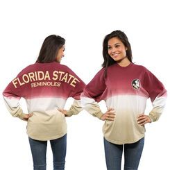 Florida State Seminoles Women's Ombre Long Sleeve Dip-Dyed Spirit Jersey - Garnet