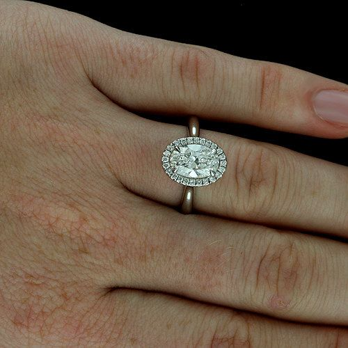 Oval Halo Diamond Engagement Ring Cut Down Micro Pave Set Ring Contemporary
