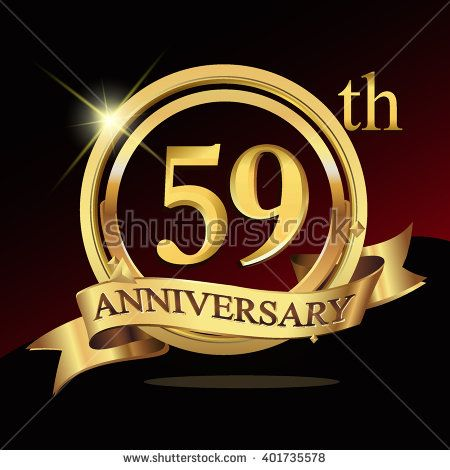 59th golden anniversary logo, 59 years anniversary celebration with ring and ribbon. - stock vector