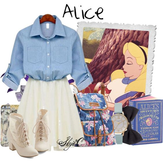 Alice - Spring - Disney's Alice in Wonderland by rubytyra on Polyvore featuring But Another Innocent Tale, UNIONBAY, Topshop, H&M, Disney, Spring, disney, Alice, aliceinwonderland and disneybound
