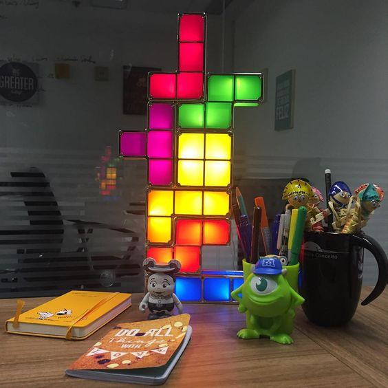 Luminária nova. Detalhe: você pode montar as peças como quiser #tetris #infancia #geek #geeklove #geekpride