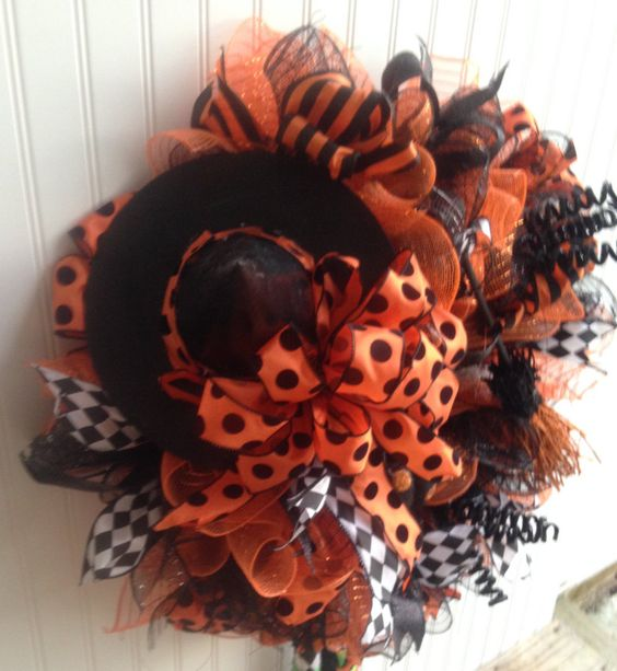 A personal favorite from my Etsy shop https://www.etsy.com/listing/469551041/halloween-witch-wreathhalloween