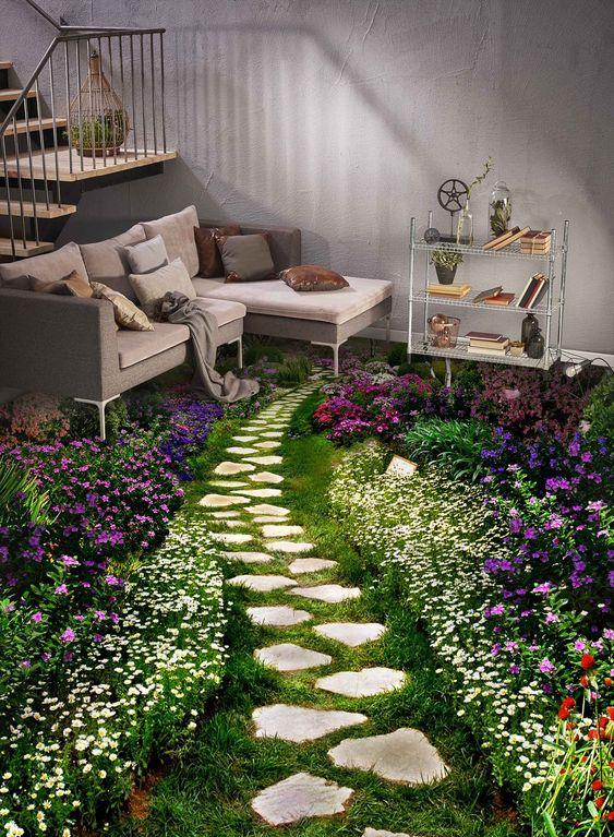 3D Garden Stone Path Floor Mural | AJ Wallpaper