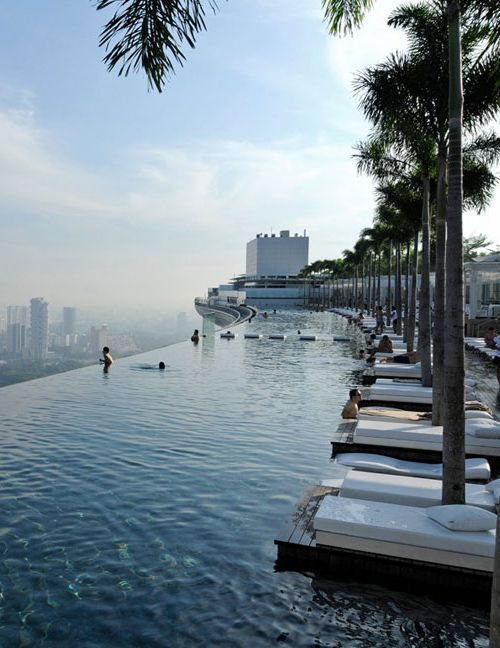 Rooftop infinity pool swimming buckets and rooftop pool - Marina bay sands resort singapore swimming pool ...
