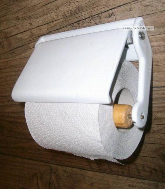 Antiker Wc - Rollenhalter Art Deco Gusseisen Email / Toilettenpapierhalter…