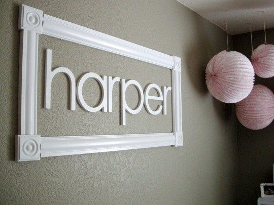 could expand on this : Picture frame, some of the matching wallpaper as the insert then glue letters on. Love the look!