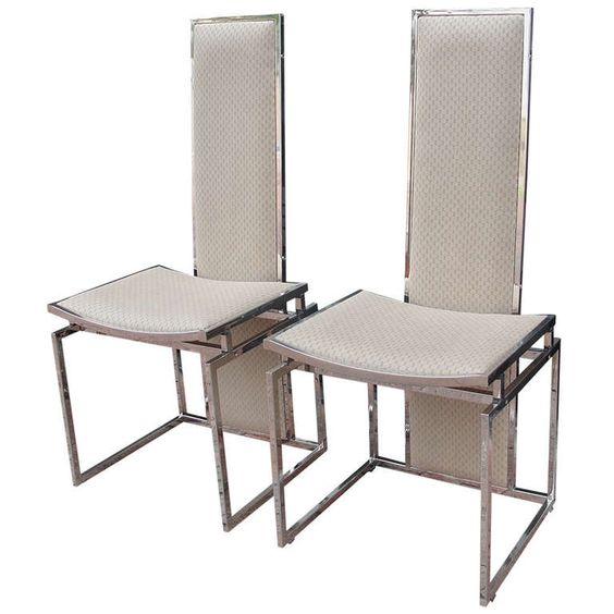 Pair of Italian Chairs in Gucci Fabric, Probably Romeo Rega | From a unique collection of antique and modern dining room chairs at https://www.1stdibs.com/furniture/seating/dining-room-chairs/