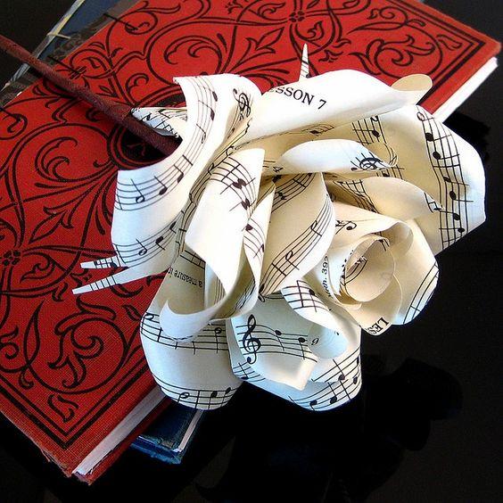 Sheet Music Paper Rose ~