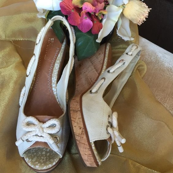 Sperry Top-Siders Wedge  Like new Sperry Topsider Linen wedges 2.5 in heel Sperry Top-Sider Shoes Wedges