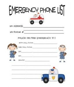 emergency phone list coloring pages - photo#8