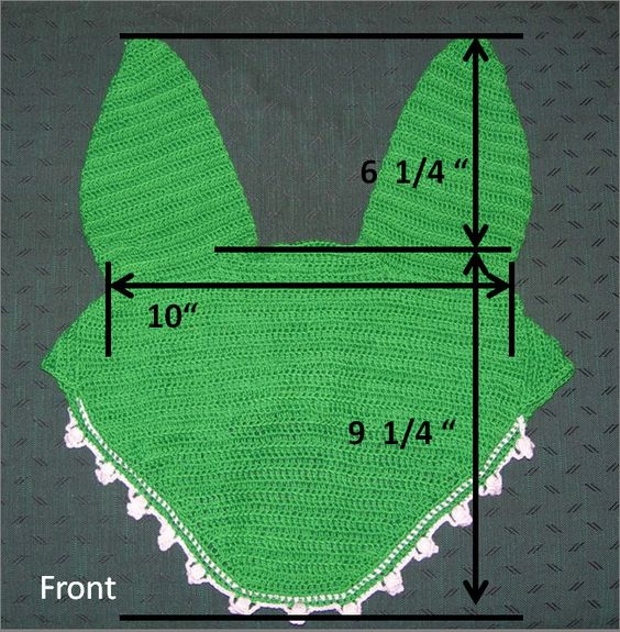 Good diagram to measure horse's head for a crocheted horse bonnet.