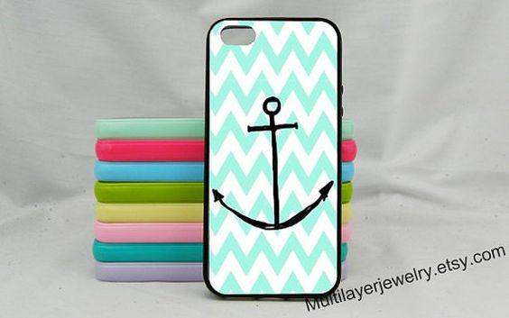 Chevron Nautical Glitter Anchor iphone case,Mint Green Anchor iPhone 4s case,iPhone 5/5c case,iphone 5s case,Samsung Galaxy S3 S4 S5