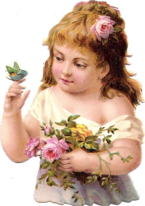 Oblaten Glanzbild scrap die cut chromo Kind child girl butterly Schmetterling: