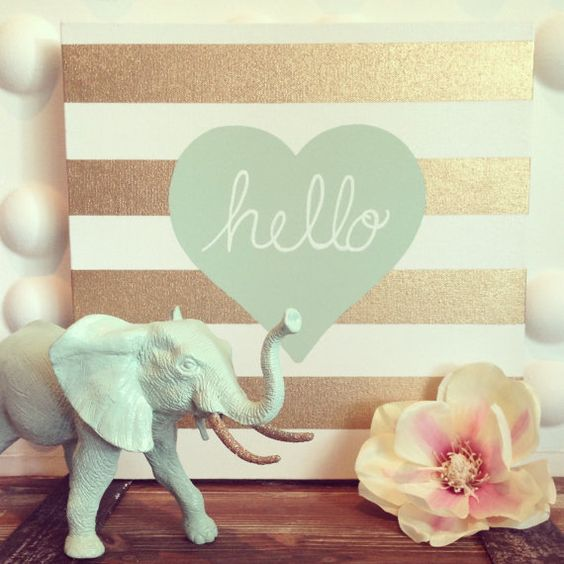 Gold Stripe Hello Heart 12x12 Canvas in Sea by HOCDesignsMarket, $30.00