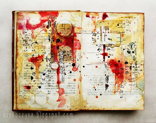 "art-journal page inspired by the ""Red rain"" song, by czekoczyna http://czekoczyna.blogspot.com/2013/03/to-make-housework-easier.html"