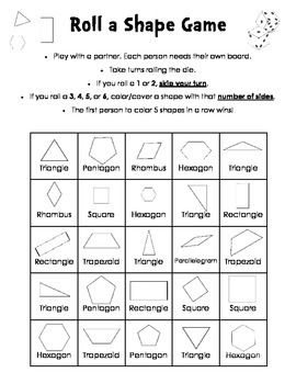 Roll a Shape Game - 2D shapes - number of sides | Pinterest ...
