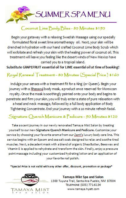 Summer time is the perfect time to treat yourself to one of our Tamaya Mist Spa featured summer treatments! These specials are available until August 20, 2015. Make your spa appointment directly at 505.771.6134 to visit with one of a Spa Concierge. | tamaya.hyatt.com