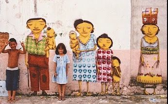 Street Art by Os Gemeos in Sao Paulo.