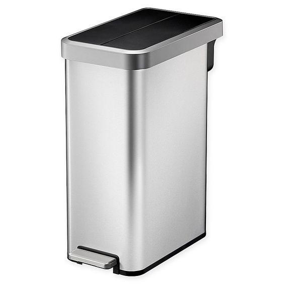 Simplehuman Rectangular 45 Liter Grey Plastic Trash Can With Lid
