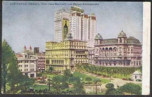 postal, 1944, s.paulo, casa martinelli com parque anhangabau