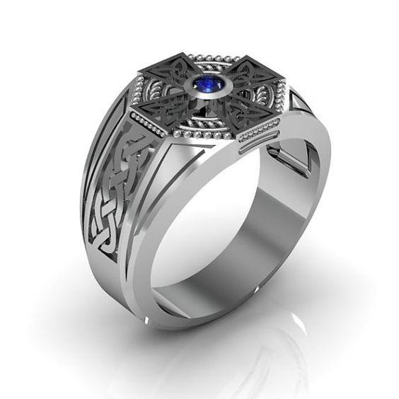 Sterling Silber Herren blau Saphir Keltenkreuz Ring
