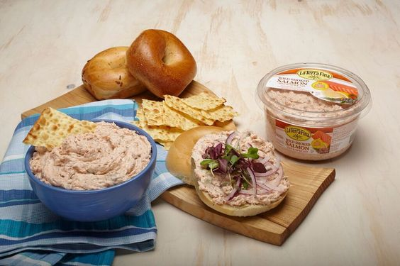 La Terra Fina Wild Smoked Salmon Dip is a delicious party favorite. Serve with your favorite vegetables, chips, crackers or bread. Try it as a spread on your favorite bagel with lox, more capers, and slices of red onion.