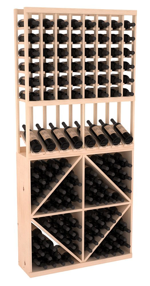 152 Bottle High Reveal Wine Storage Rack Kit Combo 2 In Pine 13