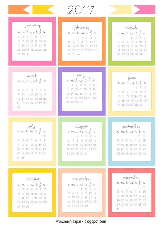FREE printable 2017 mini calendar cards | 2017 bullet journal stickers