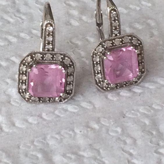 Judith Ripkia Pink Sapphire Lever back Earnings 14K Gold. Diamond Pink Sapphire Judith Ripkia Jewelry Earrings