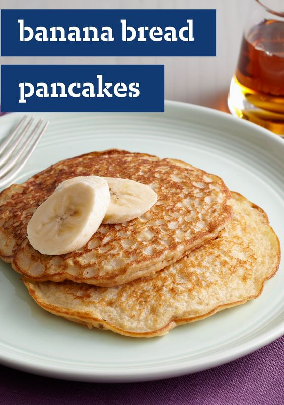 Banana Bread Pancakes – These sweet pancakes taste like your favorite banana-walnut bread, served warm from the skillet with fresh banana slices on top.