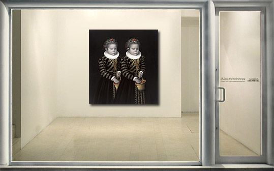 Galerie Piece Unique - TWINS WITH GOLD CHAINS AND CHERRIES oil on canvas  cm 200x185 2010