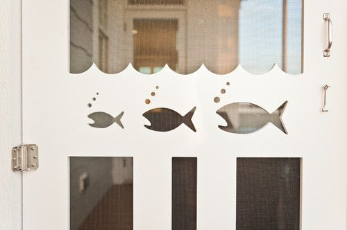 fun screen door!: Shutter Cutouts, Blue Sky, Door Design, Beach Houses, Fish Cutouts, Building Company, Screen Doors