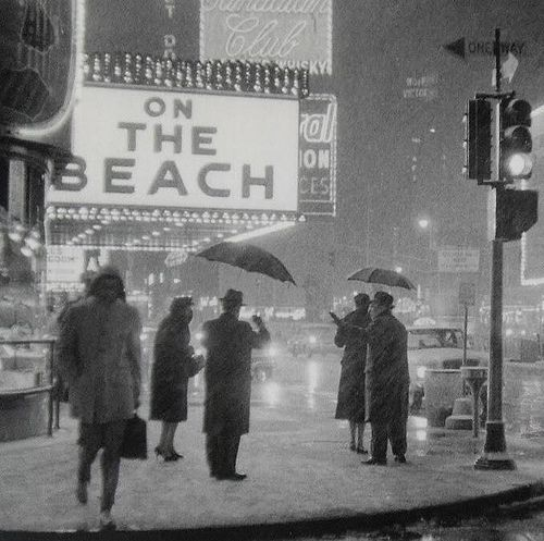 A snowstorm in Times Square, New York City, 1959.