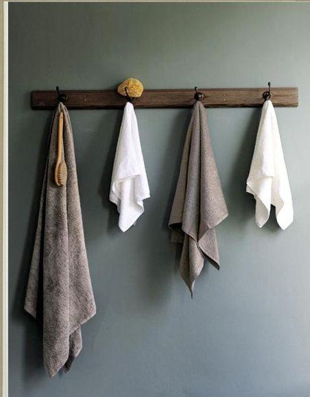 hooks towels and bathroom on