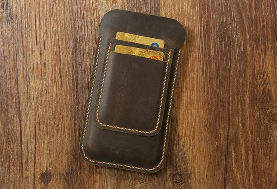 Hand stitched vintage distressed leather by CanvasLeatherArt