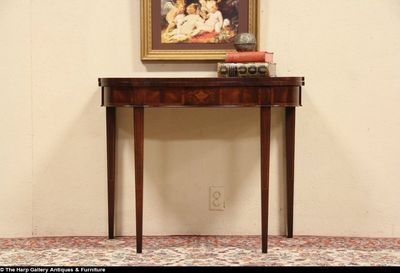 Federal 1930's Flip Top Game or Console Table