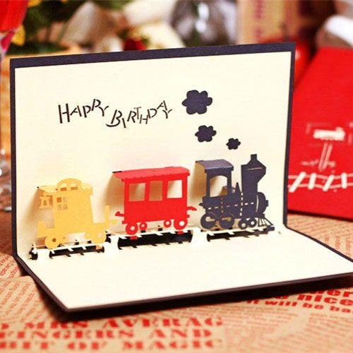 The Happiness Train Handmade Creative Kirigami Origami 3D Pop – Train Birthday Cards