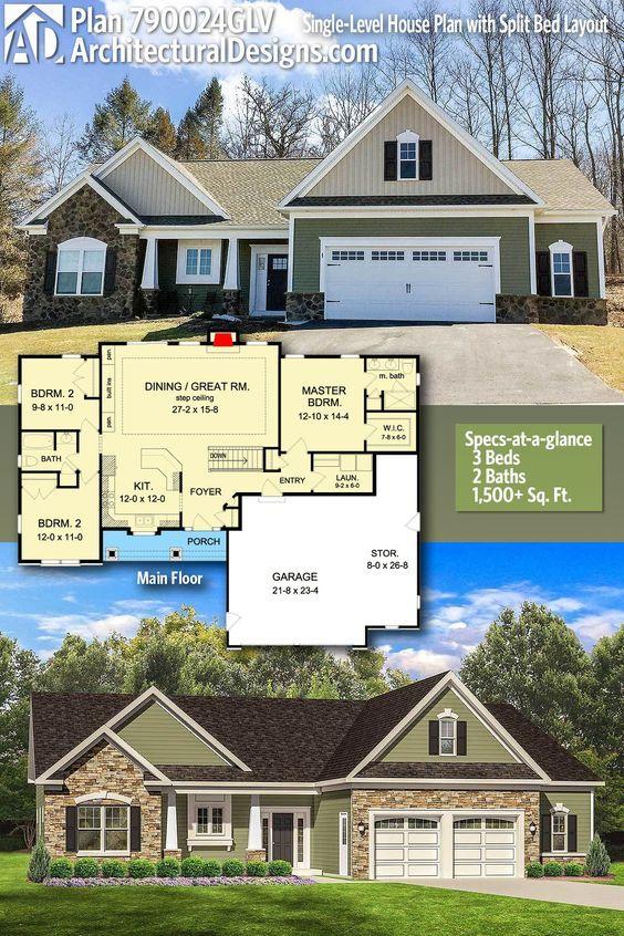 Plan 790024glv Single Level House Plan With Split Bed Layout In 2020 Craftsman House Plans Single Level House Plans Craftsman House