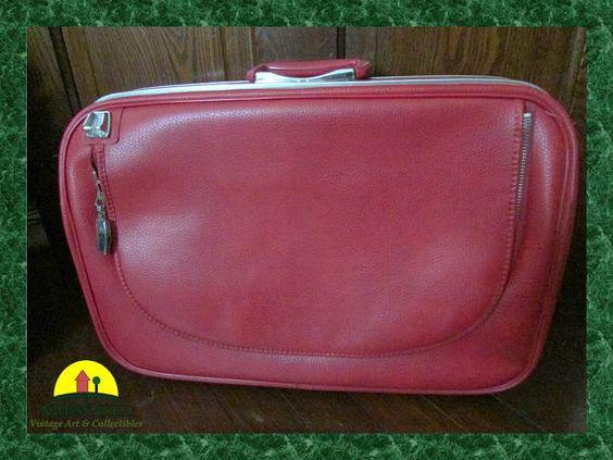 JETLINER Retro Red Footed Suitcase MAD MEN by KressHillVintage, $58.00