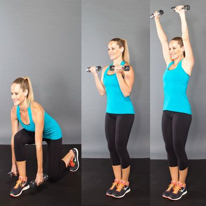 Lunge, curl, and press: