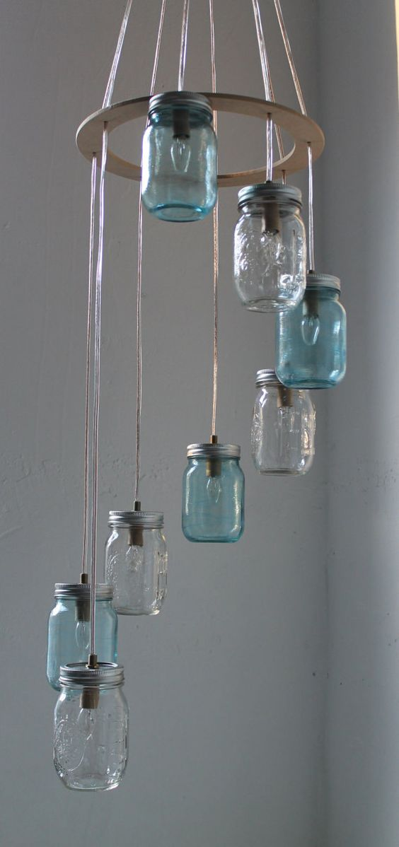 spiral jar chandelier - cool DIY inspiration