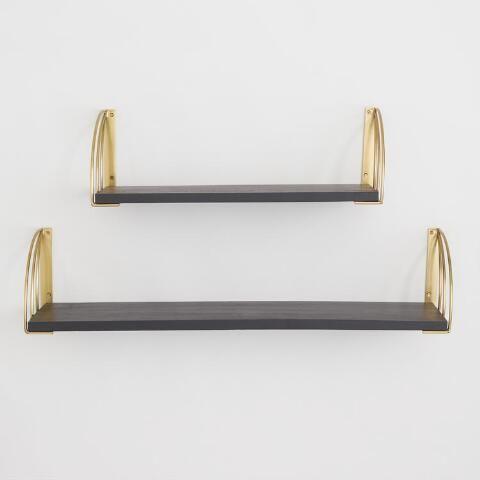 Gold Art Deco Mix Match Shelf Brackets Set Of 2 World Market Wall Shelves Black Wood Gold Art Deco