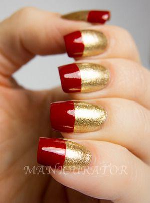 Beauty Trends #nail #nails #nailart #unha #unhas #unhasdecoradas #vermelho #red #dourado #gold